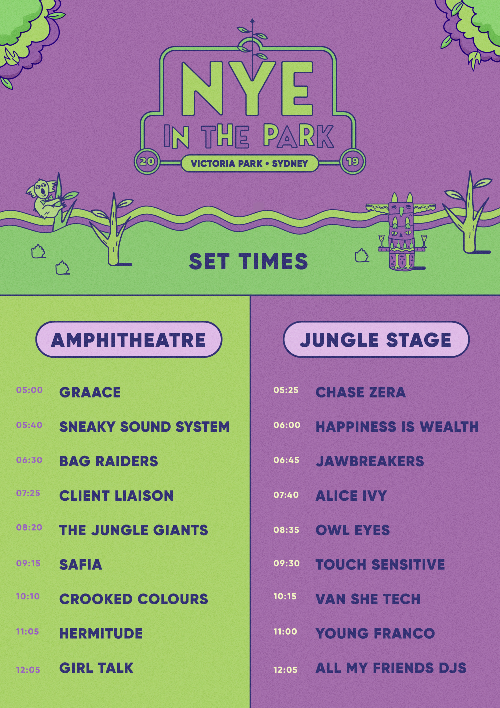 NYE IN the Park Set Times